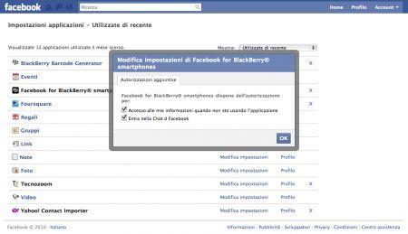 Facebook per BlackBerry – Dettaglio accesso chat