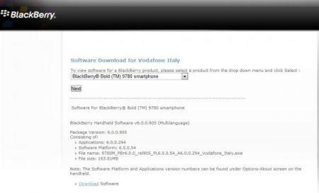 BLackBerry Bold 9780: Firmware 6.0.0.294 da Vodafone Italia