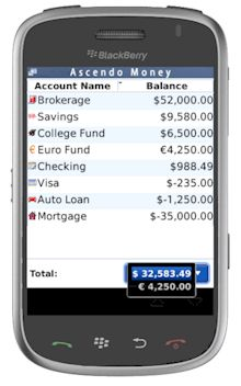 Ascendo Money per Blackberry Storm