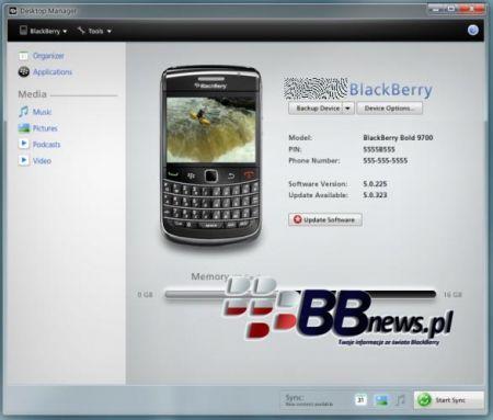 BlackBerry Desktop Manager 6.0: Ecco una prima immagine del nuovo DM