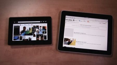 BlackBerry Playbook a confronto con Apple iPad in un video