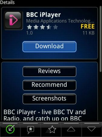 BBC iPlayer disponibile in BlackBerry App World, solo per gli utenti in UK!