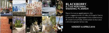 Wedding Planner: I consigli di Angelo Garini sul proprio palmare Rim BlackBerry