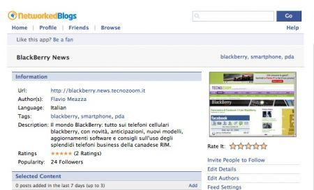 Segui BlackBerry News da Facebook