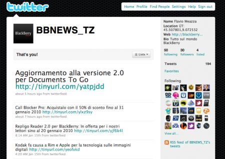 Segui BlackBerry News su Twitter dal tuo BlackBerry