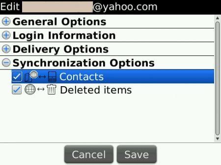 Sincronizzazione contatti con Yahoo e BIS 3.1
