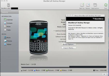 BlackBerry Desktop Manager per Mac: download non ufficiale nuova versione 2.0.0.46