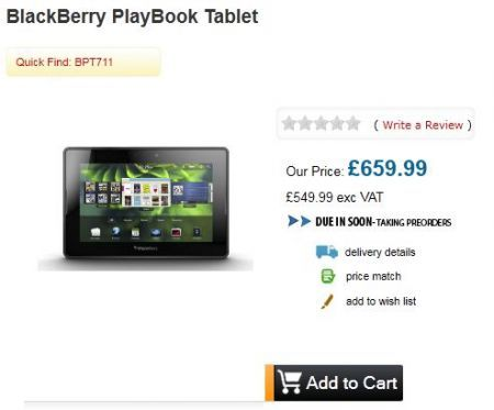 BlackBerry PlayBook in prevendita a 723 Euro