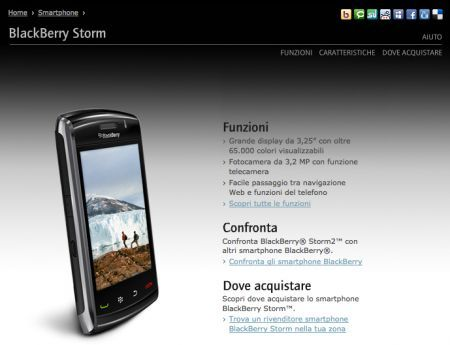 BlackBerry Storm2 9520 arriva in Italia