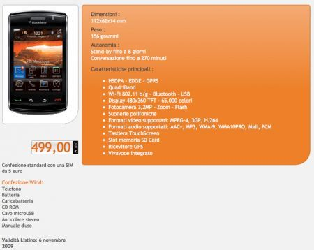 BlackBerry Storm2 9520 disponibile da Wind Italia