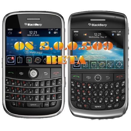 BlackBerry Bold 9000 e Curve 8900 firmware 5.0.0.509 BETA