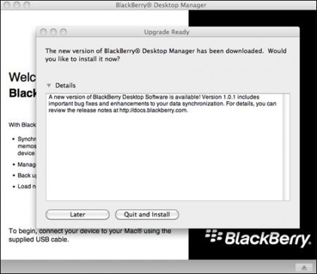 Aggiornamento per BlackBerry Desktop Manager per Mac