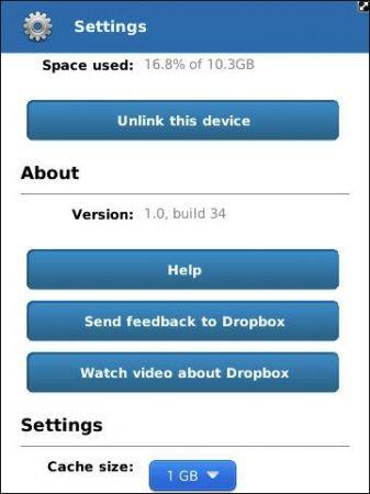 dropbox BlackBerry: nuovo aggiornamento alla v. 1.0.34 con diverse migliorie