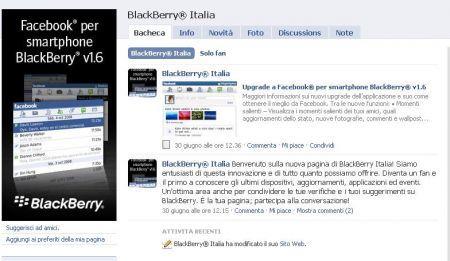 Diventa fan di BlackBerry Italia, la pagina ufficiale di Rim su Facebook