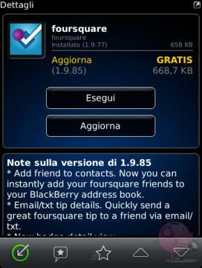 Foursquare per BlackBerry si aggiorna in App World