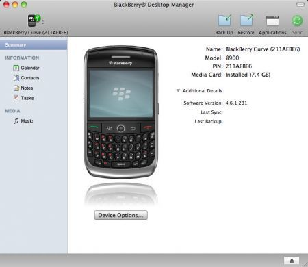BlackBerry Desktop Manager per Mac 1.0.2