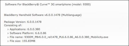 OS 6.0.0.380 per BlackBerry Curve 3G e BlackBerry Bold 9700