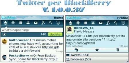 Twitter per palmari Rim BlackBerry: v. 1.0.0.37 BETA disponibile per il download