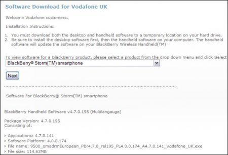 OS 4.7.0.141 da Vodafone UK