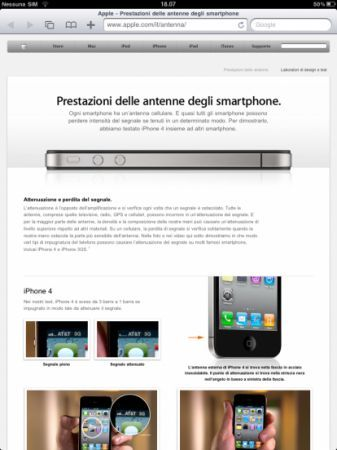 Pagina italiana apple antennagate