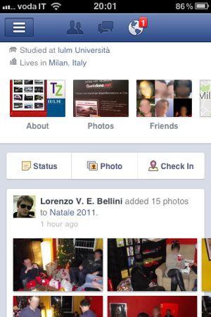 Facebook Timeline introdotta anche nell'app ufficiale per iPhone
