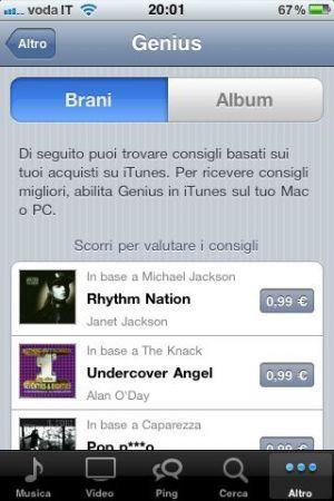 Genius nell'app iTunes dell'iPhone