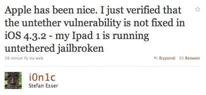 i0n1c: Jailbreak untethered iOS 4.3.2 ancora possibile