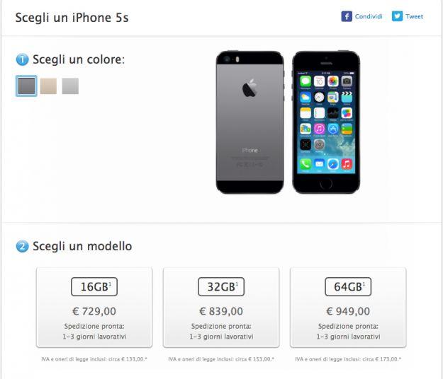 iPhone 5S tempi di consegna migliorati