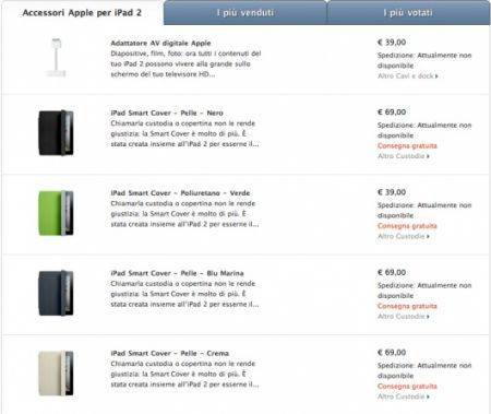 iPad 2, tutti gli accessori originali disponibili nell'Apple Store Online