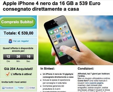iPhone 4 in offerta speciale fino a stasera su Groupon