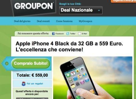 Offerta, iPhone 4 da 32 GB al prezzo del 3GS su Groupon