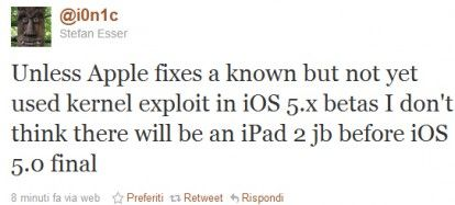Jailreak iOS 5.0 su iPAd 2: Non prima della release finale del firmware