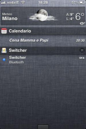 Switcher, attivare Bluetooth e WiFi direttamente dal Centro Notifiche