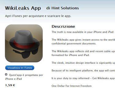 WikiLeaks App, l'applicazione non ufficiale rimossa dall'App Store