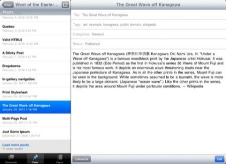 WordPress per iPad: Corretti oltre 100 bugs e una nuova interfaccia