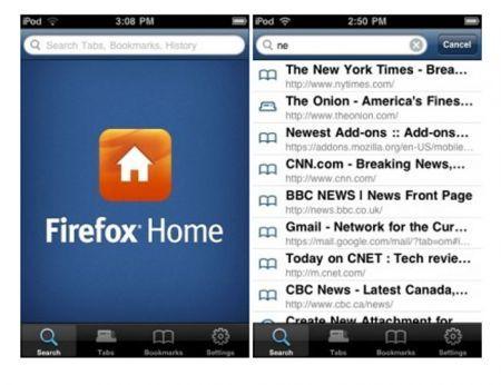 Mozilla Firefox Home per Android, BlackBerry e Symbian