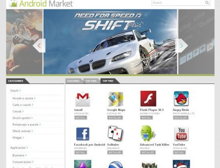 Android Market consultabile via Web Browser