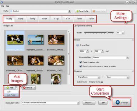 AnyPic Image Resizer: ridimensionare e convertire gruppi di immagini