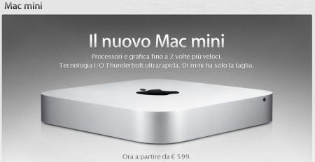 Apple Mac Mini: Mac OS X Lion, Thunderbolt e CPU i7