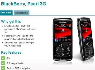 BlackBerry Pearl 3G: in arrivo con Vodafone da maggio 2010