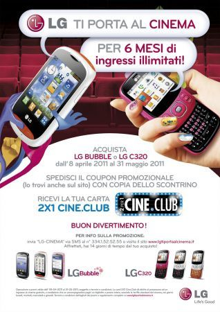 Cinema gratis con LG C320 e LG Bubble