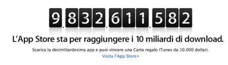 App Store: concorso iTunes 10 miliardi di applicazioni scaricate