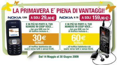 CoopVoce: Nokia N78 e Nokia 1209 a prezzi scontati