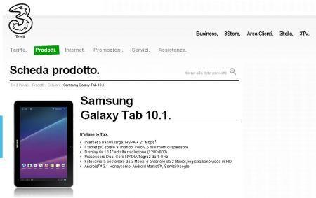 Galaxy Tab 10.1 con Tre Italia