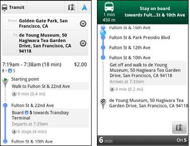 Google Maps Transit Navigation