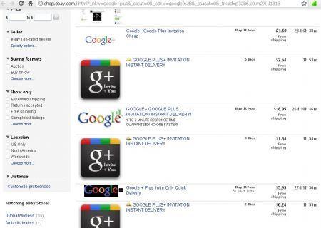 Google+ in vendita su eBay
