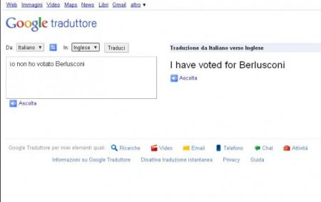 Google Translate: tutti votano per Berlusconi