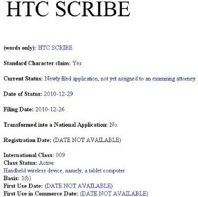 HTC Scribe: il primo tablet PC Android al CES 2011?