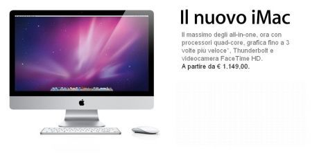 Apple Annuncia iMac quad-core con tecnologia I/O Thunderbolt