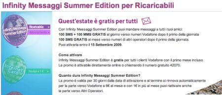 Vodafone Infinity Messaggi Summer Edition 2009: la promozione estiva per gli sms